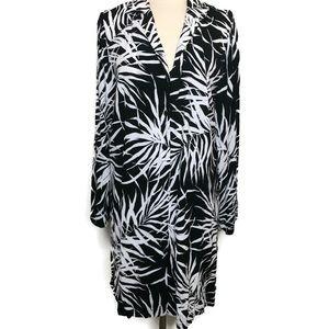Venezia Black & White Long Palm Print Blouse
